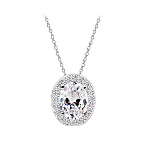 Oval Necklace - Crystal