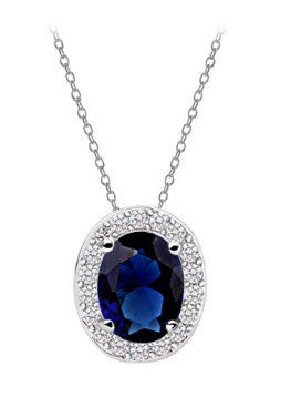 Oval Necklace - Sapphire