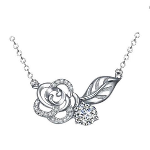 Rosey Romance Necklace - Silver