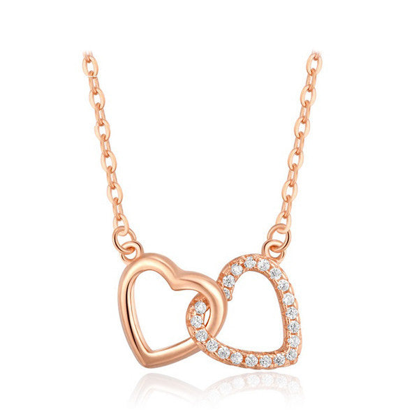 Interlocking Hearts Necklace - Rose Gold