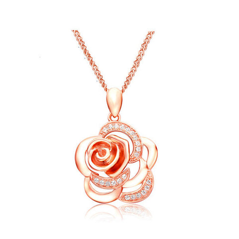 Camelia Flower Necklace - Rose Gold