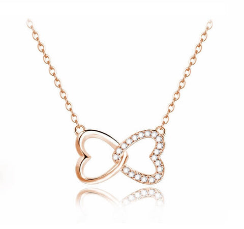 Hugs and Kisses Necklace - Rose Gold