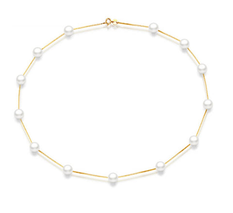 Snowy Dewdrops Pearl Necklace