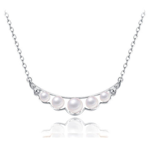 Pearl Quintette Necklace - Silver