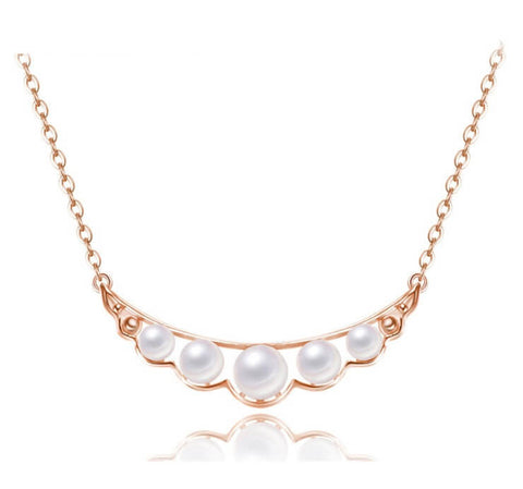 Pearl Quintette Necklace - Rose Gold