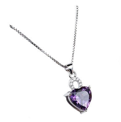 Solitaire Romance Necklace - Purple