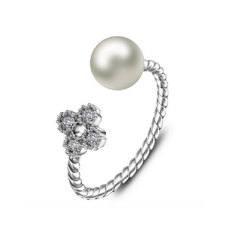 Pearl Blossom Adjustable Ring