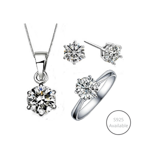 Classic Solitaire Jewelry Set (Earrings + Necklace + Ring)
