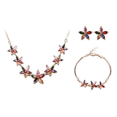 Summer Flowers Jewelry Set (Bracelet + Earrings + Necklace)