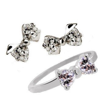 Bow Knot 925 Sterling Silver Jewelry Set (Earrings + Ring) - VivereRosse