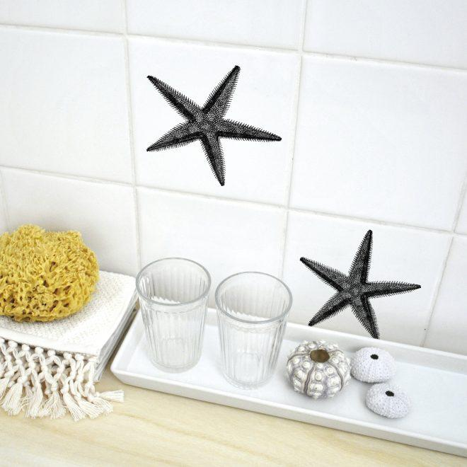 Starfish Seestern Fliesenaufkleber transparent UV Folie Motiv Boubouki Bad Küche Fliesen kacheln  set