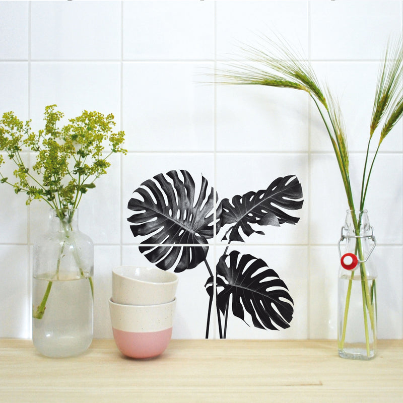 Fliesenaufkleber MONSTERA 2er Set