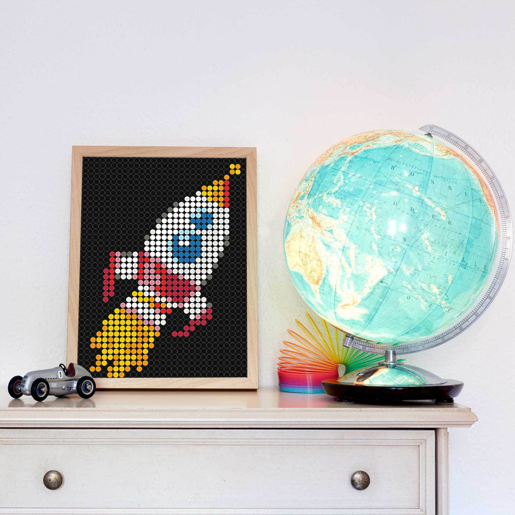 "DIY Klebeposter ""dot on art"" Rakete"