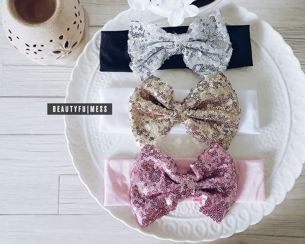Sequinned Bow (7 colours)