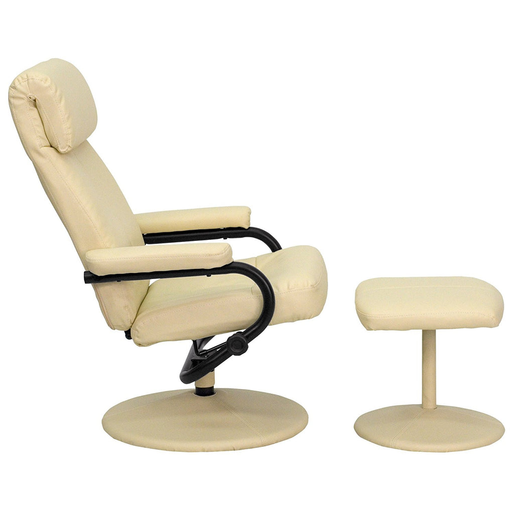 ... Winston Direct Comfort Series Contemporary Cream Leather Recliner and Ottoman with Leather Wrapped Base ...  sc 1 st  Jax Avenue & Winston Direct Comfort Series Contemporary Cream Leather Recliner ... islam-shia.org