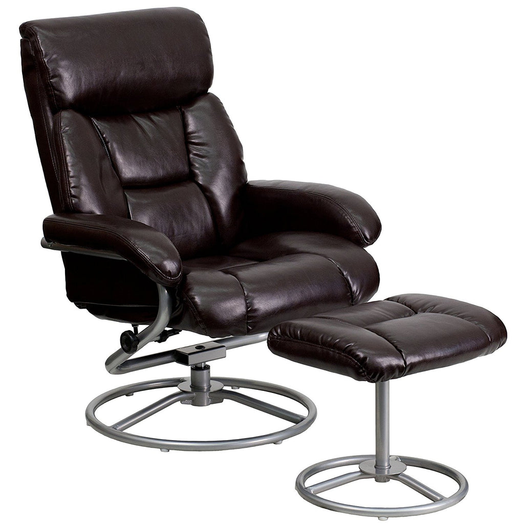 Winston Direct Comfort Series Contemporary Brown Leather Recliner and Ottoman with Metal Base  sc 1 st  Jax Avenue & Winston Direct Comfort Series Contemporary Brown Leather Recliner ... islam-shia.org
