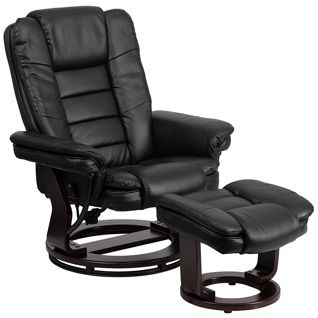 Winston Direct Comfort Series Contemporary Black Leather Recliner and Ottoman with Swiveling Mahogany Wood Base ...  sc 1 st  Jax Avenue & Winston Direct Comfort Series Contemporary Black Leather Recliner ... islam-shia.org