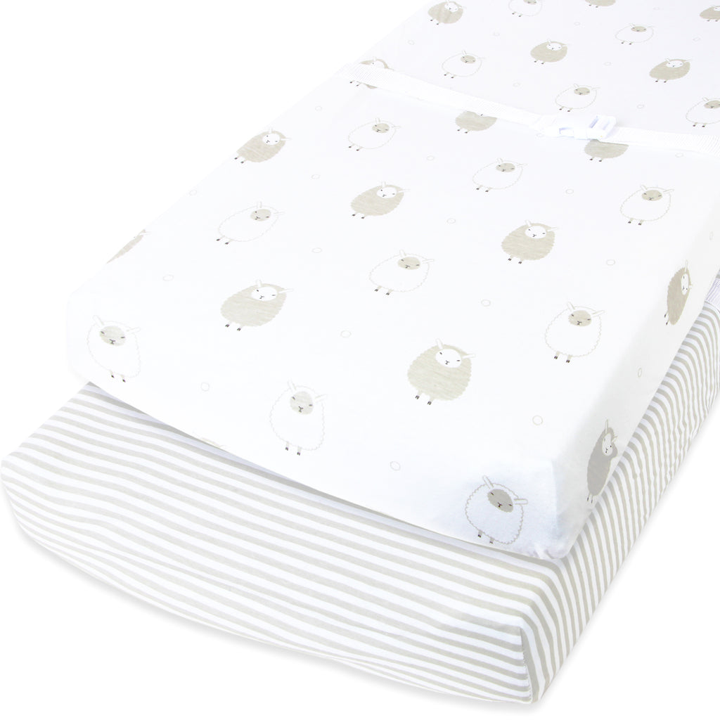 "Cuddly Cubs Changing Pad Covers – 2 Pack – Snuggly Soft Plush Cotton Changing Table Covers for Boy, Girl – Fits Perfectly on Summer Infant and Other 16 x 32"" Baby Changing Table Pads – Grey Stripes"