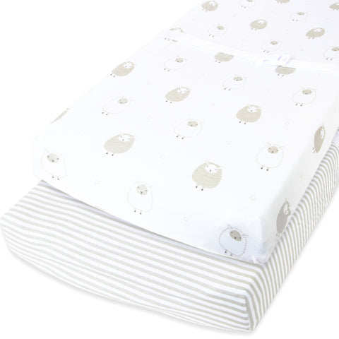 Cotton Changing Pad Covers - Stripes and Sheep in Grey