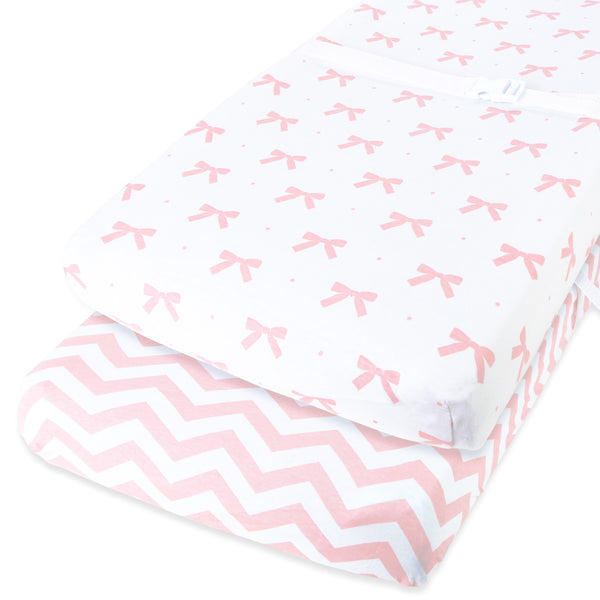 Cotton Changing Pad Covers - Chevron and Bows in Pink