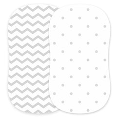 Cotton Jersey Bassinet Fitted Sheets, 2 Pack – Dots & Chevron
