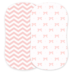 Cotton Jersey Bassinet Fitted Sheets, 2 Pack – Bows & Chevron