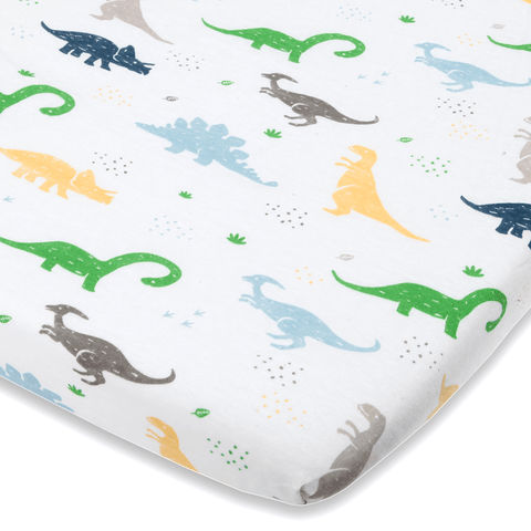Dinosaur Bassinet Sheets Compatible With Chicco Lullago, Halo Bassinet, Arms Reach Versatile Co Sleeper and other Oval, Rectangle, Hourglass Bassinet pads - 100% Natural Cotton - Ultra Soft