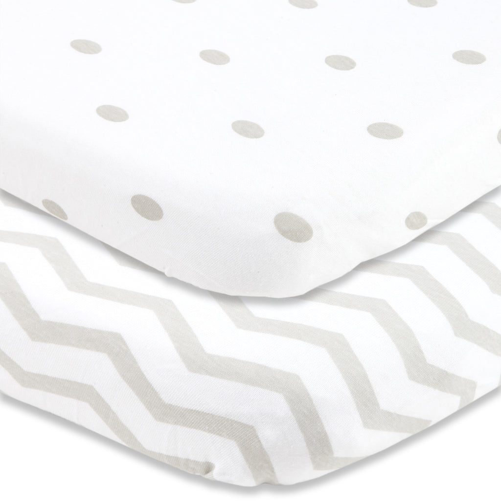 Cuddly Cubs Bassinet Sheets Set – 2 Pack – Snuggly Soft Jersey Cotton Cradle Sheets – Fitted Perfectly for Halo Bassinet, Fisher Price, Delta, Graco and Other Oval, Rectangle Basinette - Grey Dots…