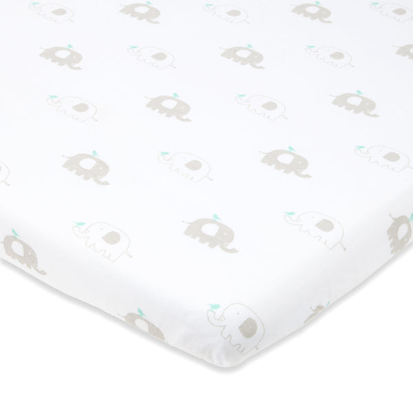 Bassinet Sheets - Mint & Grey Chevron & Elephant