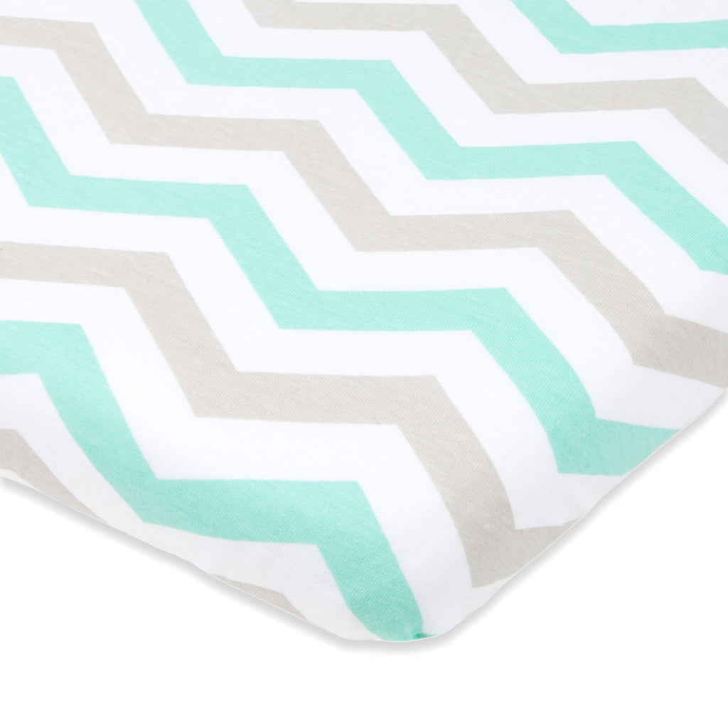 Cotton Jersey Bassinet Fitted Sheets, 2 Pack – Elephants & Chevron