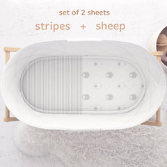 Cuddly Cubs Bassinet Sheets Set – 2 Pack – Snuggly Soft Jersey Cotton Cradle Sheets – Fitted Perfectly for Halo Bassinet, Fisher Price, Delta, Graco and Other Oval Basinette – Grey Stripes, Sheep