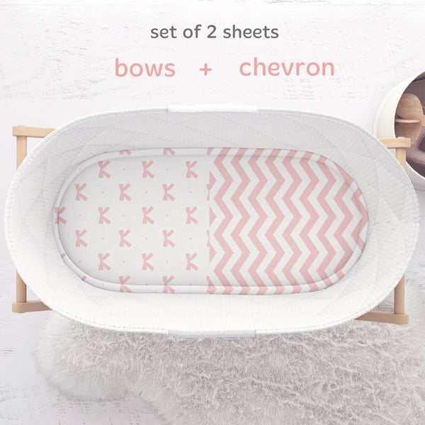 Bassinet Sheets - Pink Bow & Chevron