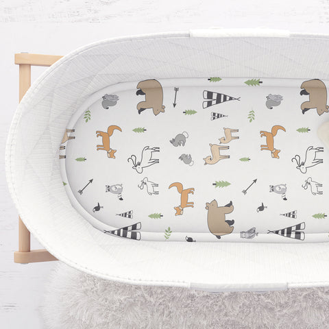 Stretchy Jersey Cotton Bassinet Sheets Compatible With Chicco Lullago, Halo Bassinest, Arms Reach Versatile and Other Oval, Rectangle Basinette - Ultra Soft - Forest Animals - Gender Neutral