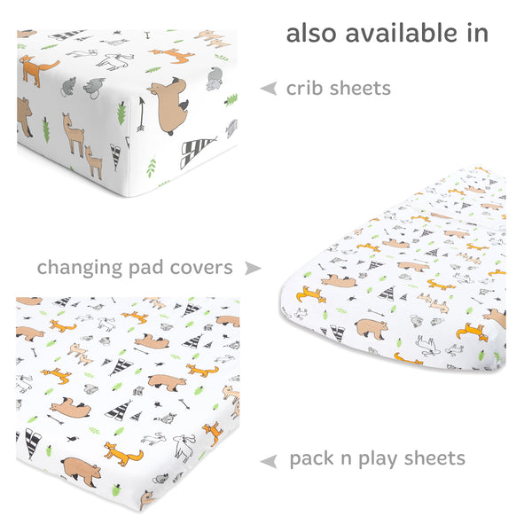 Forest Animals Bassinet Sheets for Chicco Lullago, Halo Bassinest, Arms Reach Co Sleeper, MiClassic and Other Oval, Rectangle Basinette - Stretchy Jersey Cotton - Ultra Soft