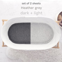 Cuddly Cubs Bassinet Sheets Set – 2 Pack – Snuggly Soft Jersey Cotton Cradle Sheets – Fitted Perfectly for Halo Bassinet, Fisher Price, Delta, Graco and Other Oval Basinette – Heather Grey