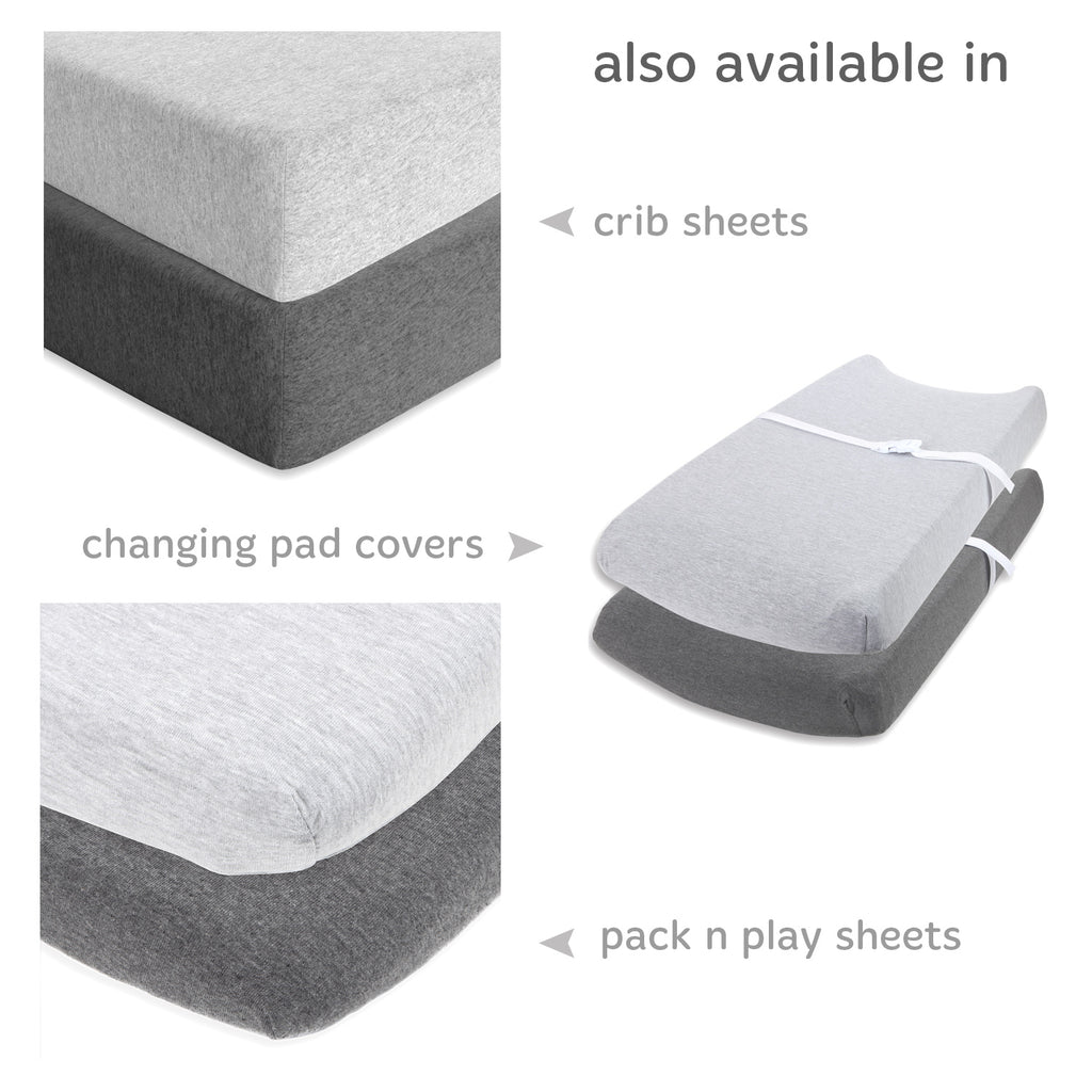 Cotton Jersey Bassinet Fitted Sheets, 2 Pack – Heather Grey