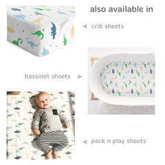 Cuddly Cubs Dinosaur Changing Pad Cover – Snuggly Soft Plush Cotton Changing Table Cover for Boy, Girl – Fits Perfectly on Summer Infant and Other 16 x 32