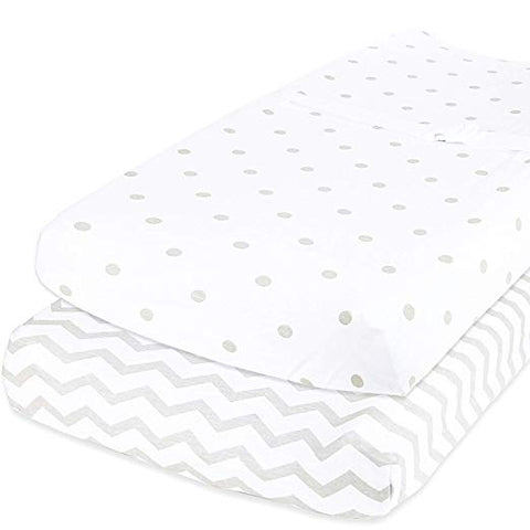 Cotton Changing Pad Covers - Dots & Chevron in Grey