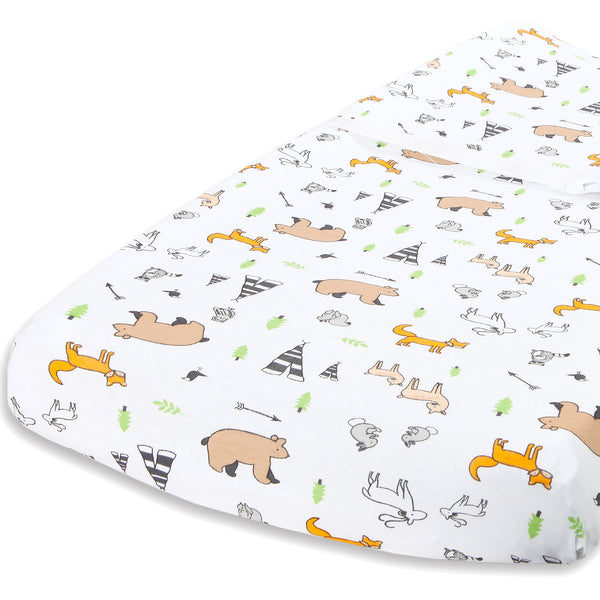 Cotton Changing Pad Cover - Woodland Pattern