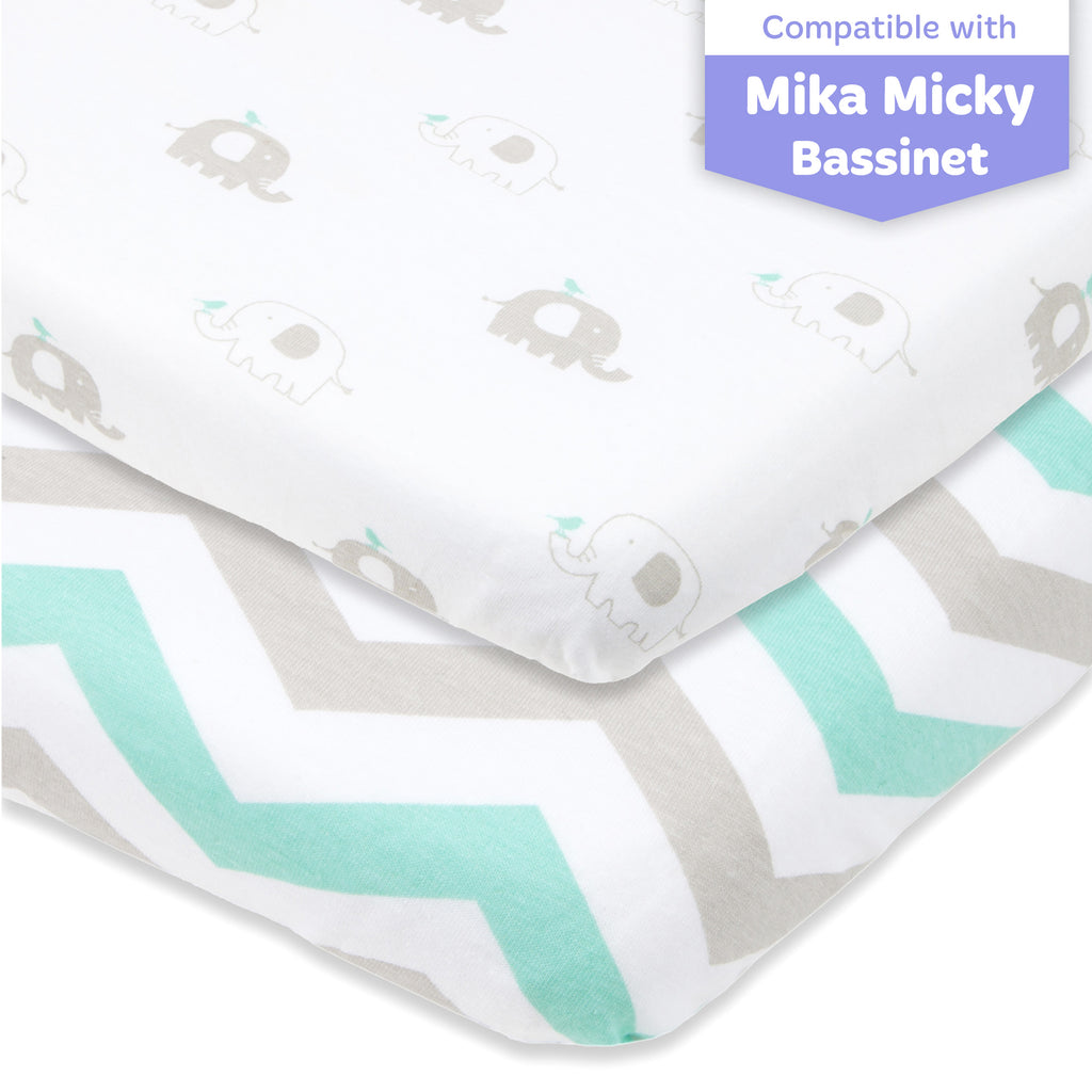 Cotton Jersey Bedside Sleeper Fitted Sheets, 2 Pack – Elephants & Chevron
