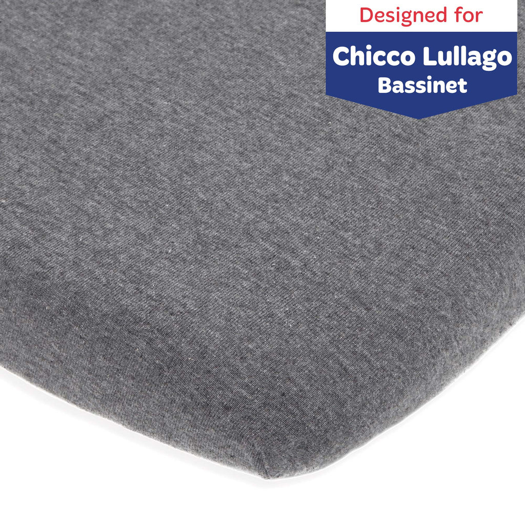 Joey & Joan Chicco Lullago Bassinet Sheet Set – 2 Pack – Snuggly Soft, Jersey Cotton Chico Bassinet Sheets – Fitted Perfectly for 19 x 32 Chicco Close To You Bedside Sleeper – Heather Grey