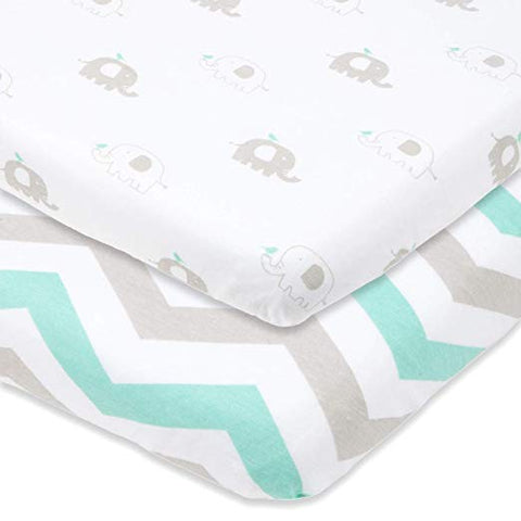 Pack n Play Sheets - Elephant and Chevron in Grey and Mint