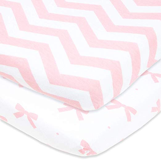 Cotton Jersey Fitted Playard Sheets, 2 Pack – Bows & Chevron