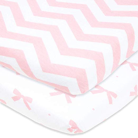 Cuddly Cubs Fitted Pack n Play Sheets Compatible With Graco, Guava Lotus, 4Moms Breeze Playard and Other Playpen, Play Yards, Portable And Mini Crib | Pink Pack and Play Sheets