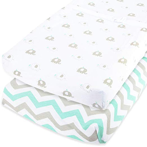 Cuddly Cubs Baby Changing Pad Covers Boy or Girl - 2 Pack Changing Table Cover - Compatible With Summer Infant Changing Pad - Elephant Changing Pad Cover - Green, Grey, White