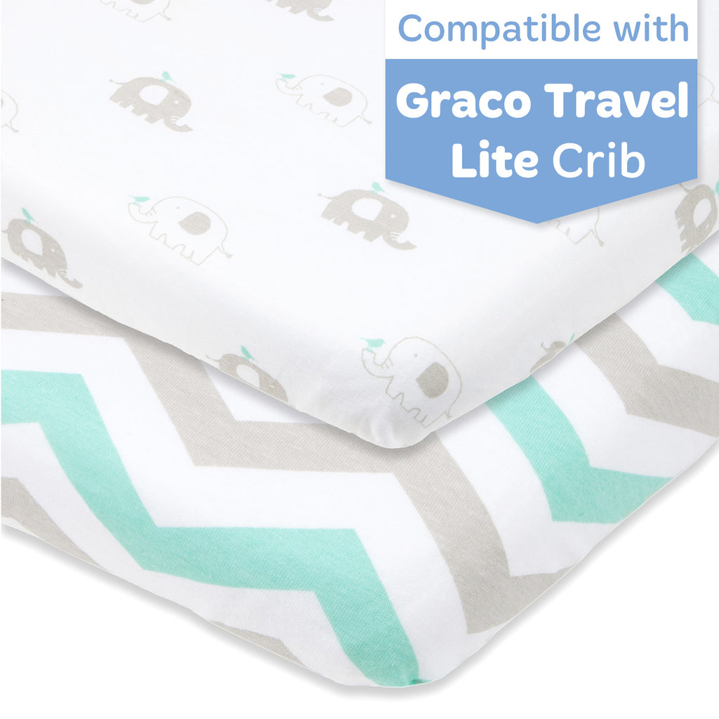Cotton Jersey Fitted Travel Lite Crib Sheets, 2 Pack – Green