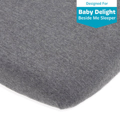 Cotton Jersey Bedside Sleeper Fitted Sheets – Heather Grey, Dark