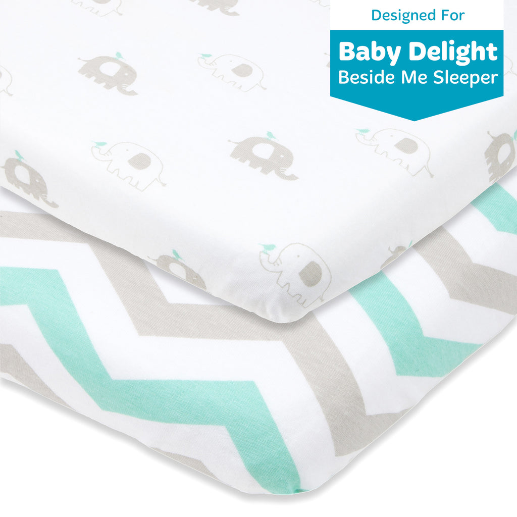 "Bassinet Fitted Sheets Compatible With Baby Delight Beside Me Bedside Sleeper and Chicco Next2Me – Fits 20 x 33"" Mattress Pad Perfectly – Snuggly Soft Natural Cotton – 2 Pack – Grey, Mint"