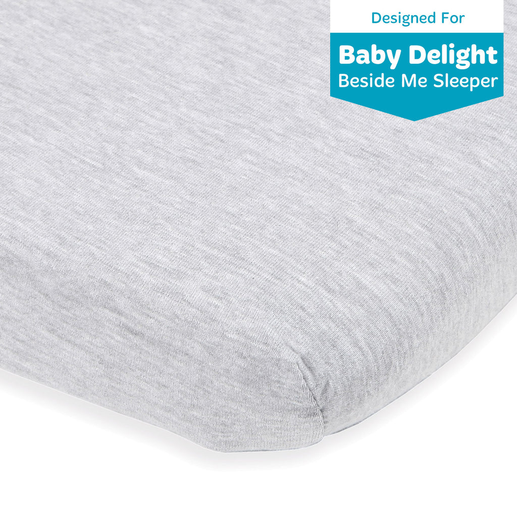 "Bassinet Fitted Sheet Compatible With Baby Delight Beside Me Bedside Sleeper and Chicco Next2Me – Fits 20 x 33"" Mattress Pad Perfectly – Snuggly Soft Natural Cotton – Light Grey"
