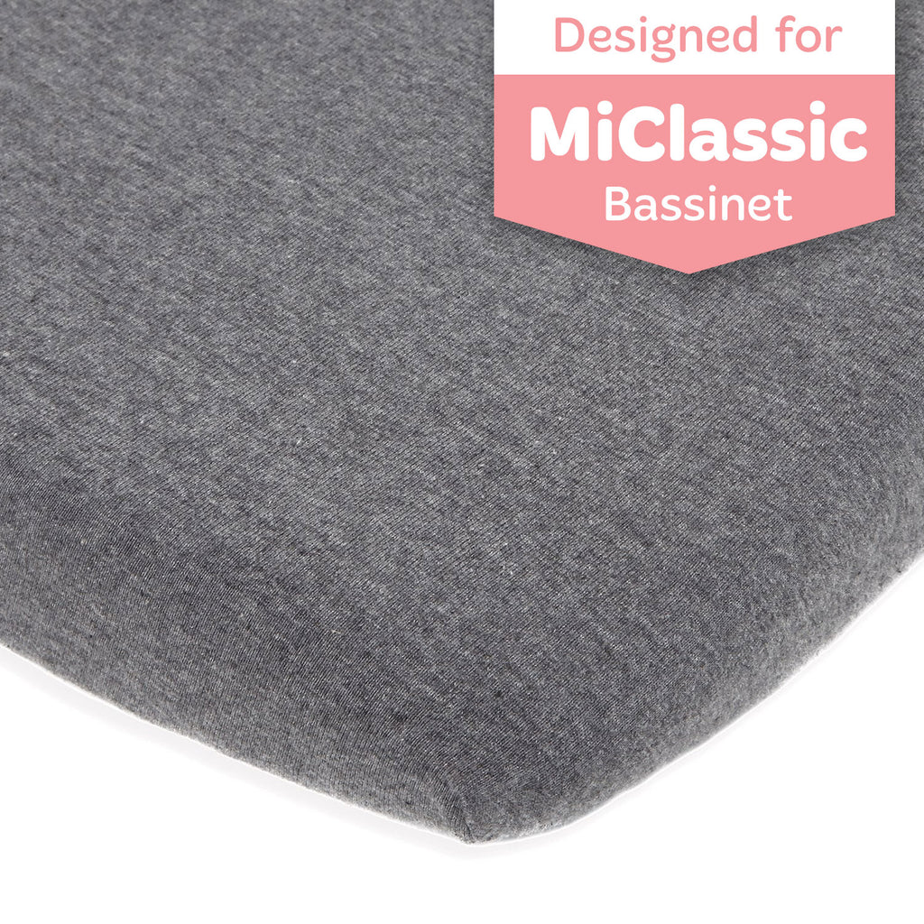 Bassinet Fitted Sheet Compatible with MiClassic Bassinet – Fits 20 x 35 Bedside Sleeper Mattress Perfectly – No-Bunching – Snuggly Soft Breathable Jersey Cotton – Dark Grey